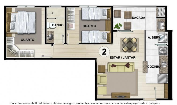 Planta Tipo B - 54 m² - Residencial CastellMonte