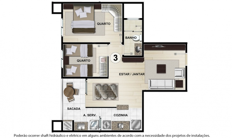 Planta Tipo D - 57 m² - Residencial CastellMonte