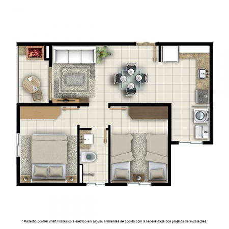 Planta Tipo C - 2 quartos - 52 m² - Residencial Campo Alegre