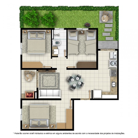 Planta Tipo B - 3 quartos - 64 m² - com jardim privativo - Residencial Campo Alegre
