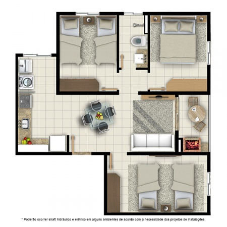 Planta Tipo D - 3 quartos - 64 m² - Residencial Campo Alegre