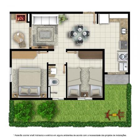 Planta Tipo A - 2 quartos - 52 m² - com jardim privativo - Residencial Campo Alegre