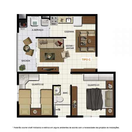 Planta Tipo C - 46,81 m² - London Residencial
