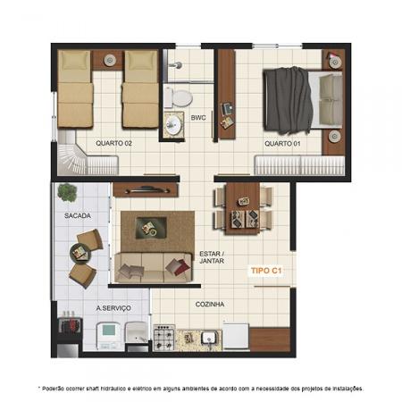 Planta Tipo C1 - 46,81 m² - London Residencial