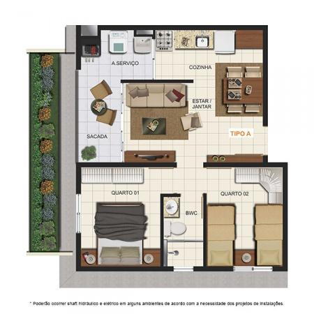 Planta Tipo A - com Garden - 44,75 m² - London Residencial