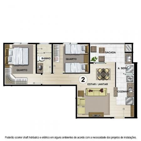 Planta Tipo B - 54,97 m² - Apt 2, 4, 7 e 9 - Castelbello