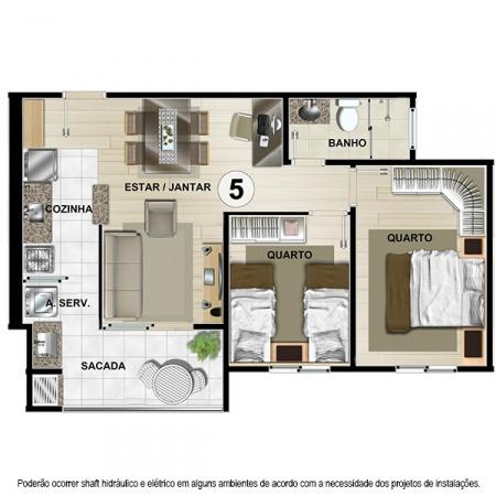 Planta Tipo C - 55 m² - Apt 5 e 6 - Castelbello