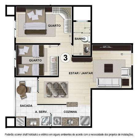 Planta Tipo D - 57,04 m² - Apt 3 e 8 - Castelbello