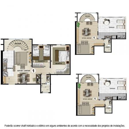 Planta Tipo E Duplex- 113,04 m² - 2 ou 3 quartos - Apt 1 e 10 - Castelbello