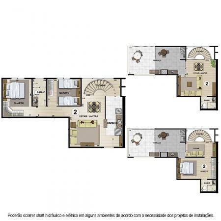 Planta Tipo F Duplex - 110,87 m² - 2 ou 3 quartos - Apt 2, 4, 7 e 9 - Castelbello