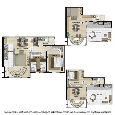Planta Tipo G Duplex - 112,68 m² - 2 ou 3 quartos - Apt 5 e 6 - Castelbello