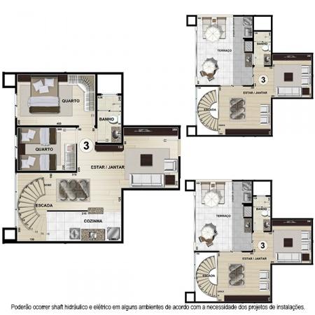Planta Tipo H Duplex - 111,47 m² - 2 ou 3 quartos - Apt 3 e 8 - Castelbello