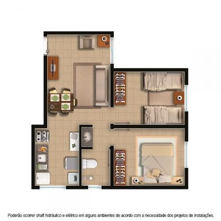 Planta Planta - 2 quartos - 47 m² - Residencial Moradas do Bosque
