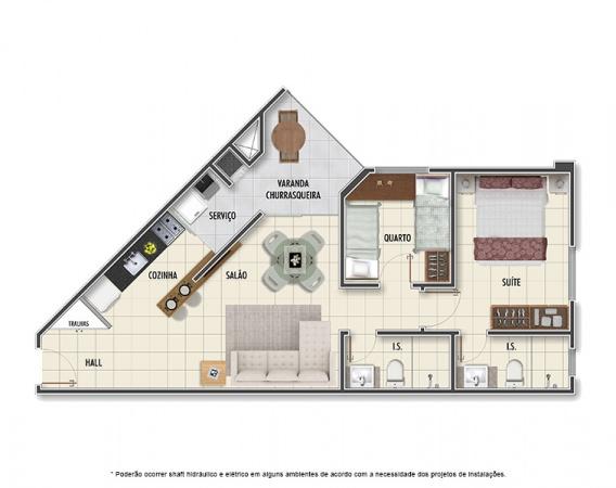 Planta Tipo B - 2 quartos - 60 m² - Mar Grosso Residencial Clube