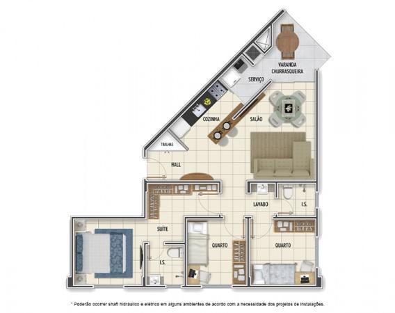Planta Tipo C - 3 quartos - 72 m² - Mar Grosso Residencial Clube