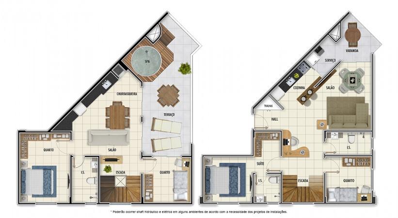 Planta Duplex - 4 quartos - 128 m² - Mar Grosso Residencial Clube
