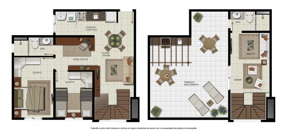 Planta Cobertura Duplex - 2 quartos - 126 m² - Condomínio Villa Treviso
