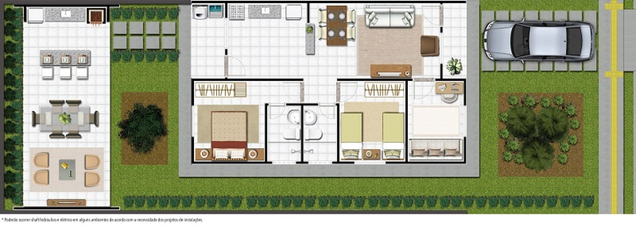 Planta 73 m² - Espaço Gourmet vendido separadamente - Residencial Terra Brasil