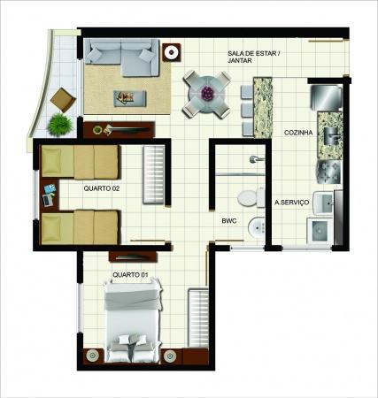 Planta 2 dormitórios com sacada e cozinha americana - 47m² de área privativa - New Wave Nações