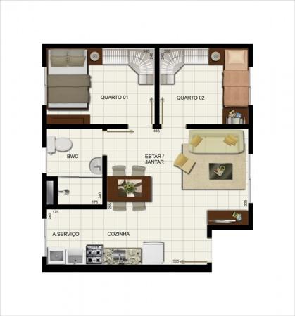 Planta Tipo - 45,72 m² - Residencial Carlos Drummond de Andrade - Vila Galli