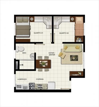 Planta Tipo - 45,72 m² - Residencial Cecilia Meireles - Vila Galli