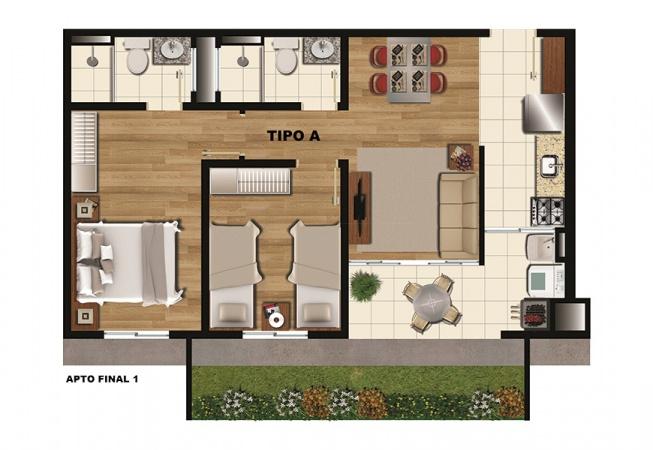 Planta Tipo A - 52 m² - Condominio Residencial Arboretto