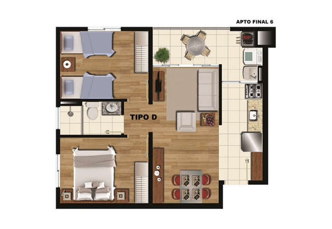 Planta Tipo D - 47 m² - Condominio Residencial Arboretto