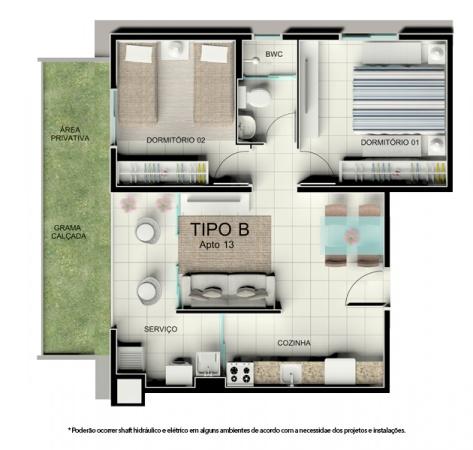 Planta Tipo B - 46,68 m² - Térreo com garden - Residencial Tordesilhas 2