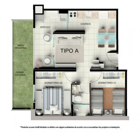 Planta Tipo A - 44,61 m² - Térreo com garden - Residencial Tordesilhas 2